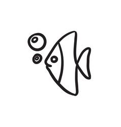 Fish under water sketch icon vector