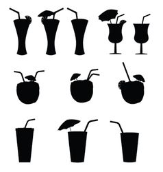 glasses of alcohol with a straw vector image vector image