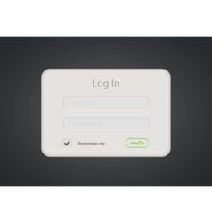 login form on dark background Eps 10 vector image