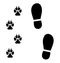traces of man and dog on white background vector image