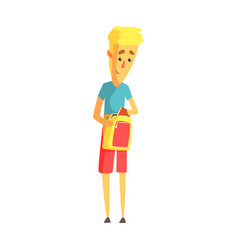young blond man standing with his backpack vector image vector image