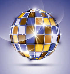 3D glossy violet fractal mirror ball created from vector image vector image