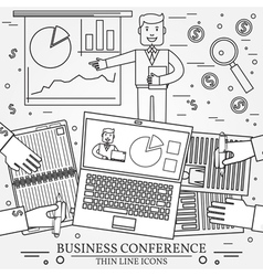 Business man giving a presentation thin line icon vector