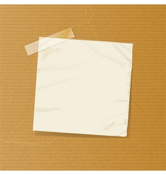 crumpled note on brownpaper vector image vector image
