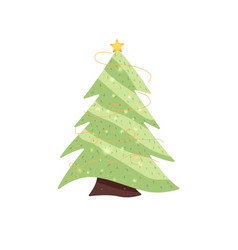 fir-tree decorated with a star and garlands vector image