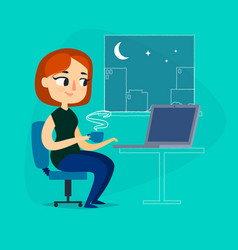 girl with notebook and cup of coffee at night vector image