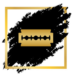 razor blade sign golden icon at black vector image