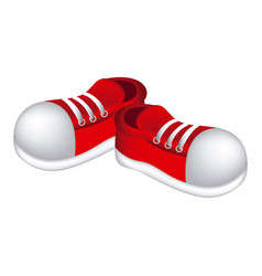 red sticker shoes icon vector image