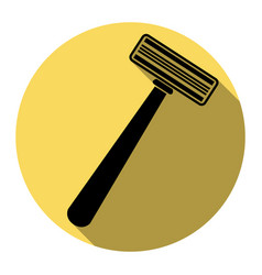 safety razor sign flat black icon with vector image
