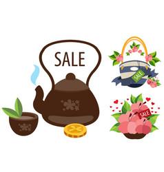 sale teapot cup of tea a beach bag hibiscus vector image
