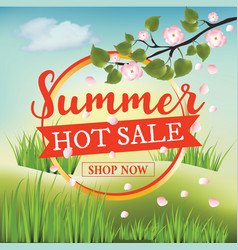 summer hot sale banner with summer nature vector image vector image