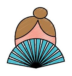woman hand fan icon vector image vector image