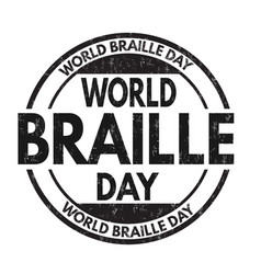 world braille day grunge rubber stamp vector image vector image