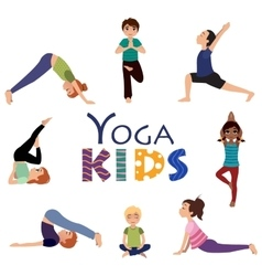 Yoga for kids Asanas poses set vector image
