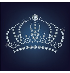 Crown made a lot of diamonds vector image vector image