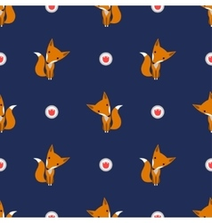 Graphically foxes in cartoon style pattern vector image vector image