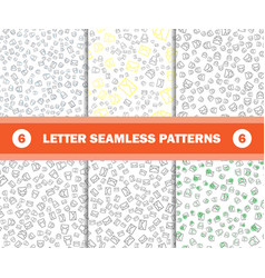 set of seamless pattern with mail envelopes vector image vector image