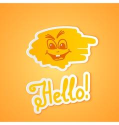 Hello on orange paper vector image vector image