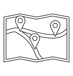 Map with gps pointers icon outline style vector