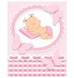 Sleeping baby girl vector image