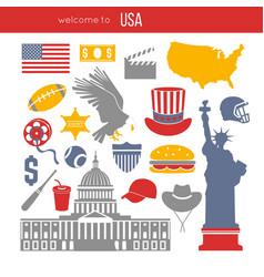 Usa culture symbol set europe travel usa vector