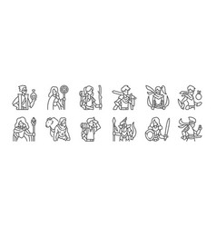 12 set linear roleplaying avatars icons thin vector