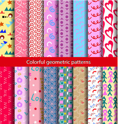 16 set pattern 80s background vector image