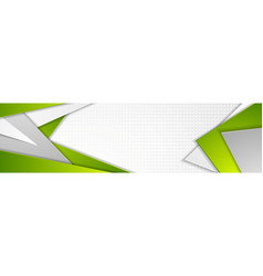 Abstract green and grey tech geometric banner vector