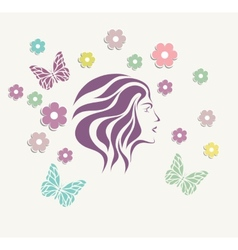 Abstrzct girl face background with flower vector image