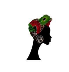 African woman afro shenbolen ankara headwrap vector
