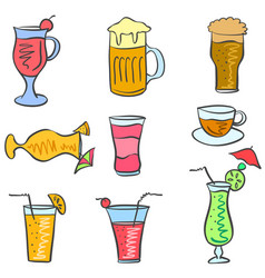 Art drink set doodles vector