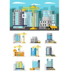 Building Houses Orthogonal Concept vector image