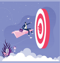 businessman flying on paper plane go to target vector image