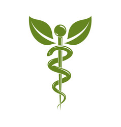 Caduceus medical symbol graphic emblem for use in vector