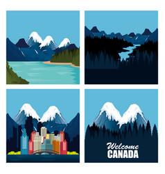canadian landscape scene and cityscape vector image