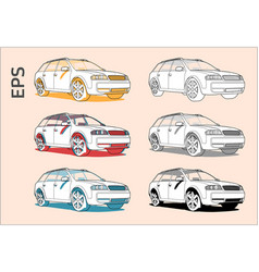 Car icons set for architectural drawing vector