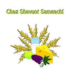 Chag shavuot sameach happy shavuot hebrew wheat vector