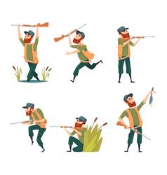 Characters of hunters cartoon vector