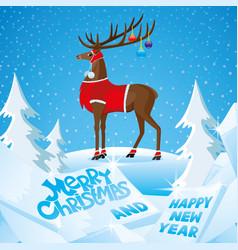 Christmas deer with beautiful horns vector