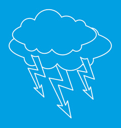 cloud lightning icon outline style vector image