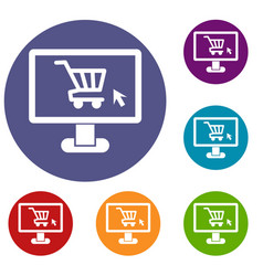 computer monitor with shopping cart icons set vector image