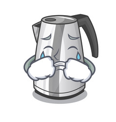 Crying kitchen electric kettle on a mascot vector