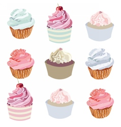 Cupcakes set collection vector image