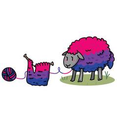 Cute bisexual wooly sheep cartoon vector