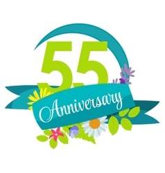 Cute nature flower template 55 years anniversary vector