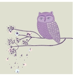 Cute violet owl on the tree branch vector image