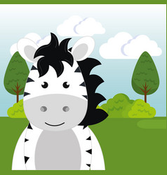 cute zebra in the field landscape character vector image