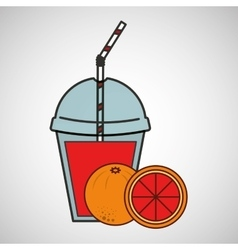 Delicious juice fruit orange and cup cover straw vector