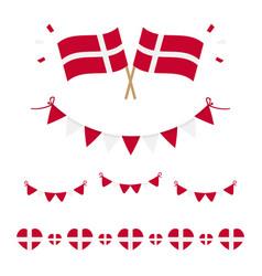 Denmark flags borders set collection vector