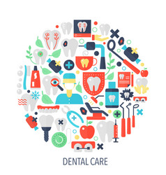 Dental care flat infographics icons in circle vector